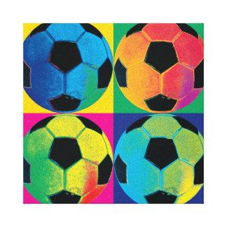 Cuatro balones de fútbol en diversos colores impresión en lienzo