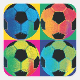 Cuatro balones de fútbol en diversos colores pegatina cuadrada