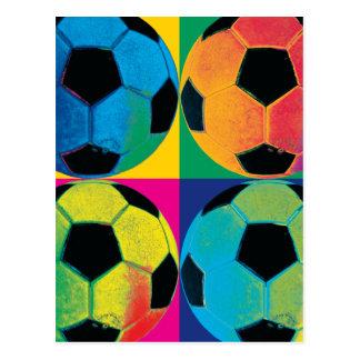Cuatro balones de fútbol en diversos colores postales