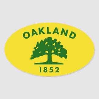 CUATRO bandera de Oakland, California Pegatina Ovalada