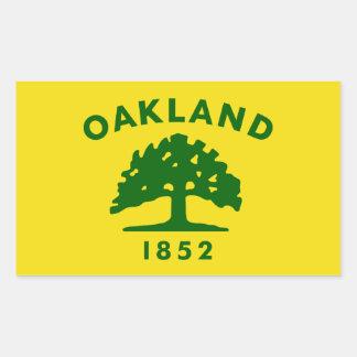 CUATRO bandera de Oakland, California Pegatina Rectangular