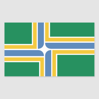 CUATRO bandera de Portland, Oregon Pegatina Rectangular