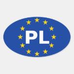 """CUATRO bandera de unión europea de Polonia """"PL"""" Colcomanias Ovaladas"""