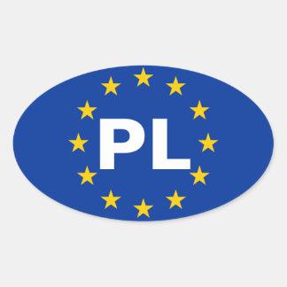 "CUATRO bandera de unión europea de Polonia ""PL"" Colcomanias Óval"