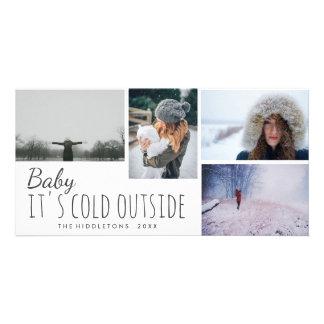 Cuatro bebé de la foto | su día de fiesta exterior tarjeta personal con foto