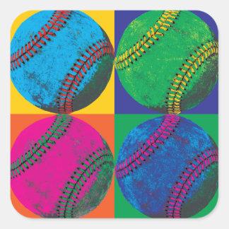 Cuatro béisboles en diversos colores pegatina cuadrada