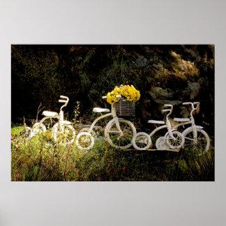 Cuatro blanco Trikes Impresiones