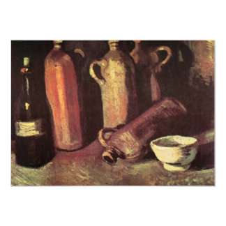 """Cuatro botellas de piedra, frasco y taza blanca - invitación 5"""" x 7"""""""