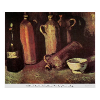 Cuatro botellas de piedra, frasco y taza blanca -  posters