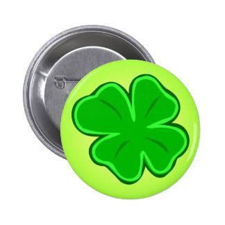 Cuatro botones afortunados del trébol del trébol d pin redondo de 2 pulgadas