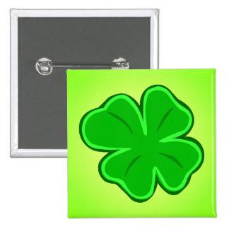 Cuatro botones afortunados del verde del trébol de pin cuadrado