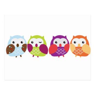 Cuatro búhos coloridos postal