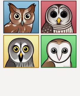 Cuatro búhos del color (en colores pastel) remera