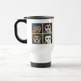 Cuatro búhos del color oscuros taza de café