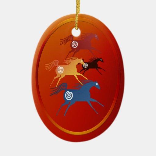 Cuatro caballos antiguos ornament_oval adorno de navidad