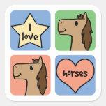 Cuatro caballos calcomania cuadradas personalizadas
