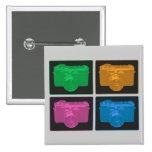 Cuatro cámaras retras coloridas pins