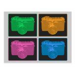 Cuatro cámaras retras coloridas tarjetas postales