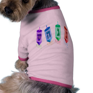 Cuatro camisetas del perro de Dreidels Camiseta Con Mangas Para Perro
