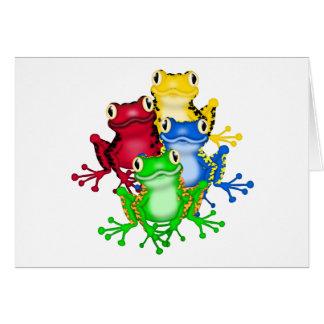 Cuatro camisetas y regalos de las ranas tarjeta de felicitación
