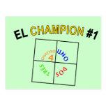 Cuatro campeón cuadrado #1 tarjeta postal