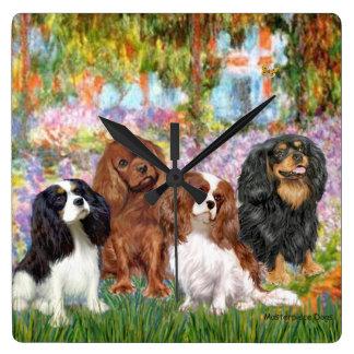 Cuatro Cavaliers en el jardín de Monet Reloj Cuadrado