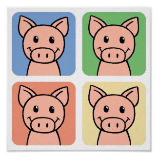 Cuatro cerdos impresiones