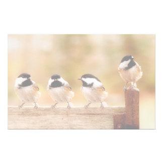 Cuatro Chickadees lindos Papelería Personalizada