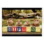 cuatro chipmunks lindos felicitacion