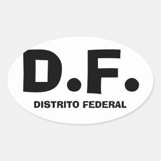 "CUATRO Ciudad de México ""D.F. "" Pegatina Ovalada"