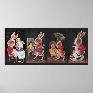 Cuatro conejos de Pascua del vintage Impresiones
