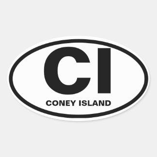 "CUATRO Coney Island ""ci "" Pegatina Ovalada"