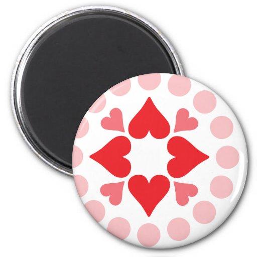 cuatro corazones y puntos imán redondo 5 cm