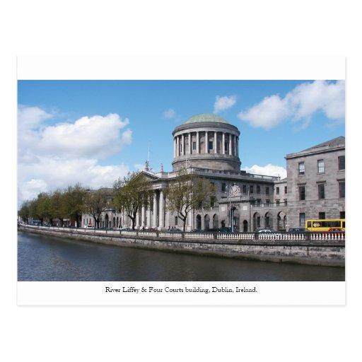 Cuatro cortes, río Liffey, ciudad Irlanda de Dublí Postales
