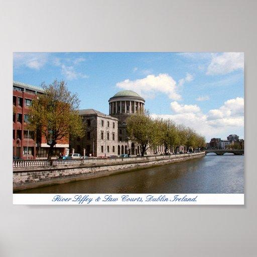 Cuatro cortes y ríos Liffey, ciudad Irlanda de Dub