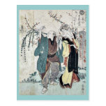 Cuatro cottonballs que florecen en un sauce Ukiyoe Tarjetas Postales