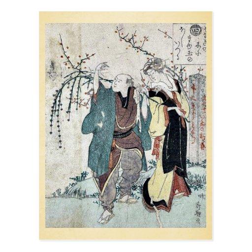 Cuatro cottonballs que florecen en un sauce Ukiyoe Postal