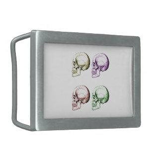 Cuatro cráneos humanos coloreados hebilla cinturon rectangular