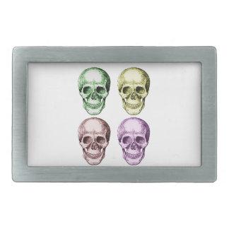 Cuatro cráneos humanos hebillas de cinturon rectangulares