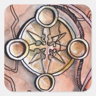 Cuatro de monedas pegatina cuadrada
