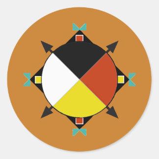 Cuatro direcciones cherokees pegatina redonda