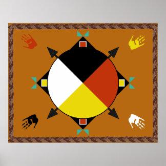 Cuatro direcciones cherokees póster