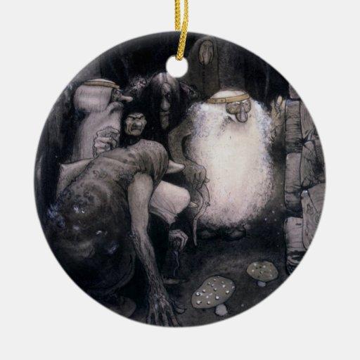 Cuatro duendes grandes adorno navideño redondo de cerámica