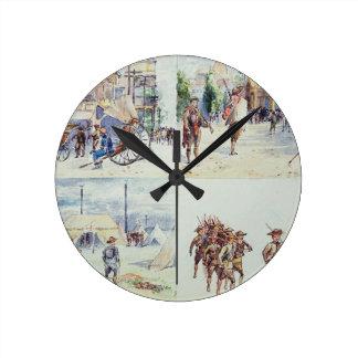 Cuatro escenas de la guerra Boer, de un sketchbook Reloj Redondo Mediano