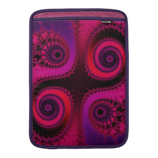 Cuatro espirales del fractal - rojos, púrpura, fundas macbook air