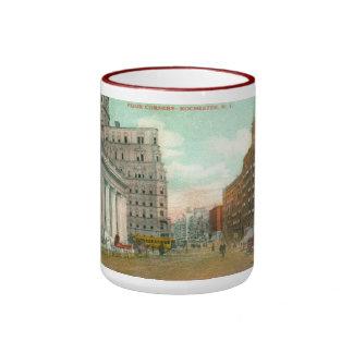 Cuatro esquinas, vintage de Rochester, Nueva York Taza De Dos Colores