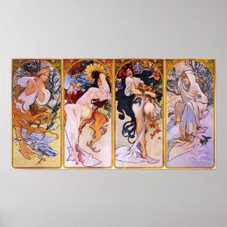 Cuatro estaciones Alfons Mucha Impresiones