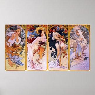 Cuatro estaciones de Alfonso Mucha 1895 Impresiones