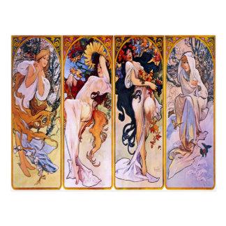 Cuatro estaciones de Alfonso Mucha 1895 Postales