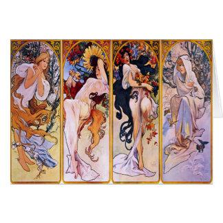 Cuatro estaciones de Alfonso Mucha 1895 Tarjeta De Felicitación